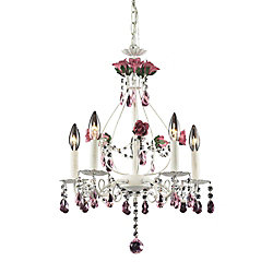 Titan Lighting Rosavita 5-Light Antique White With Rose Crystals Chandelier