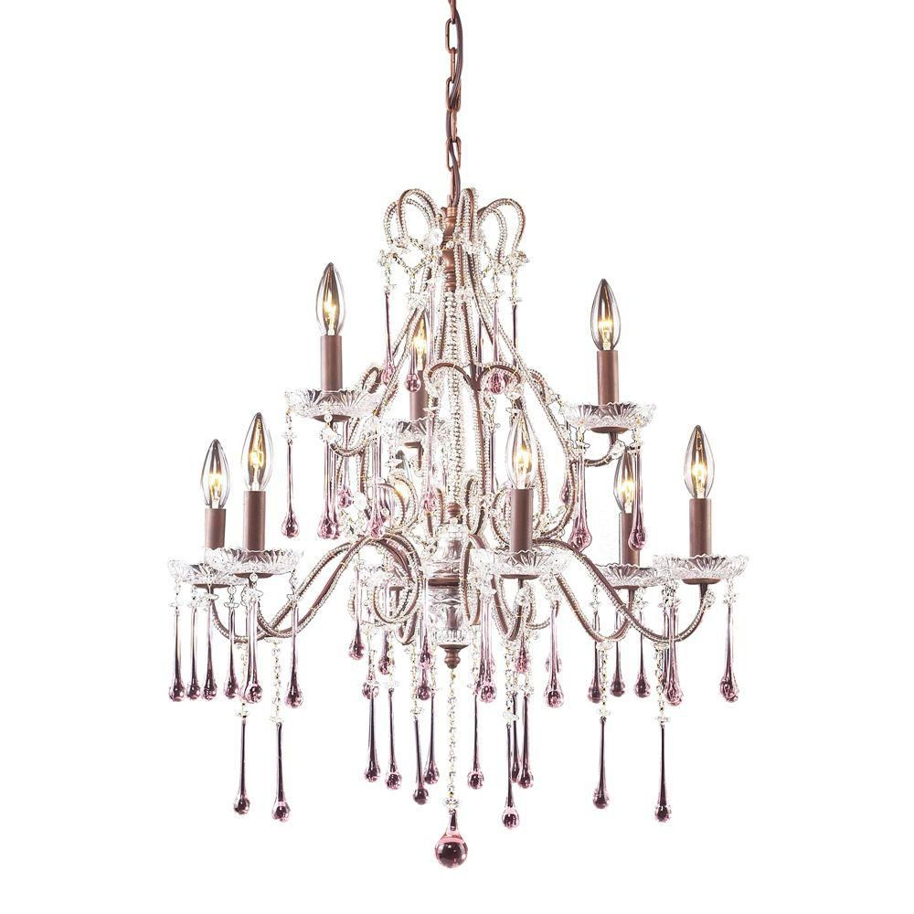 9-Light Ceiling Mount Rust Chandelier