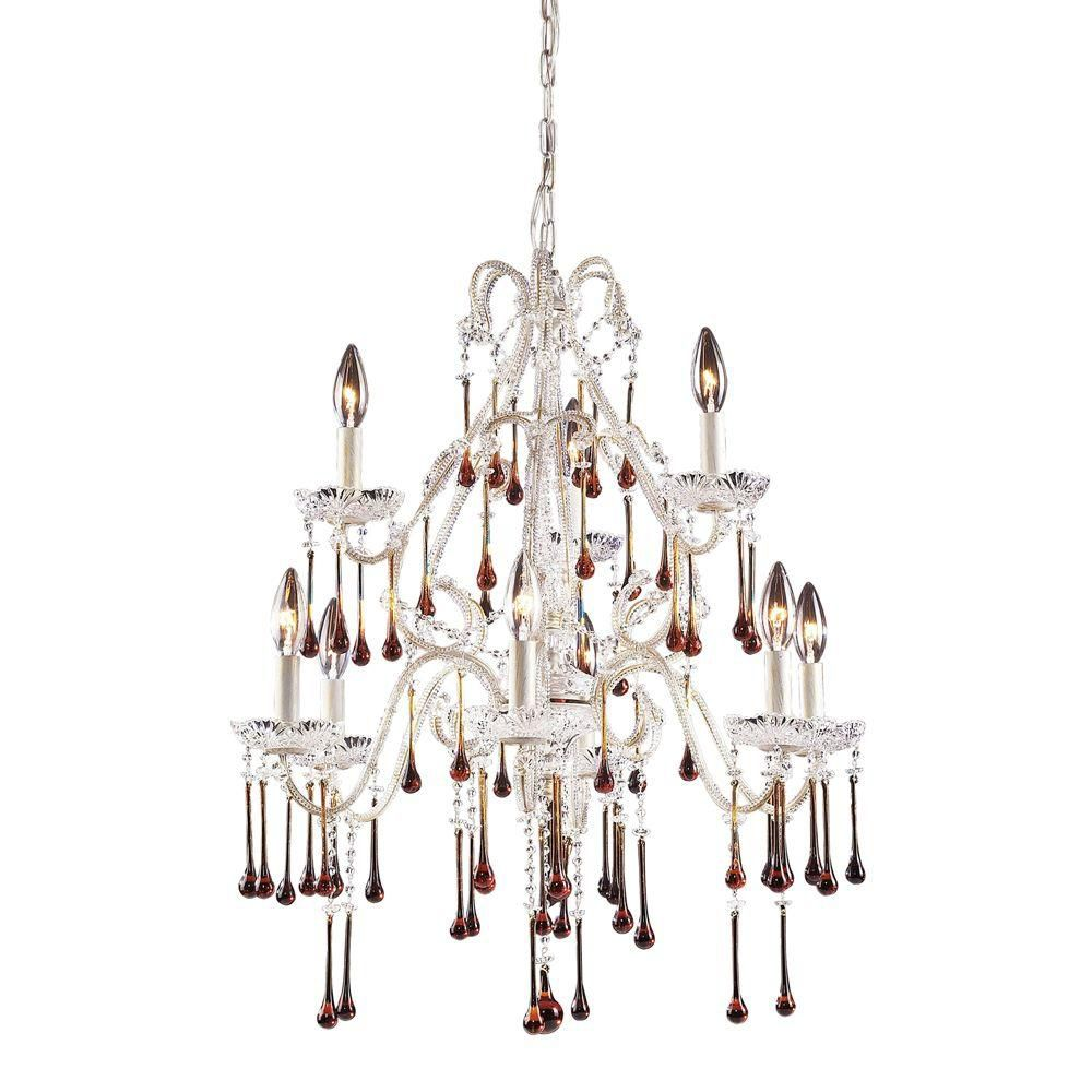 9-Light Ceiling Mount Antique White Chandelier
