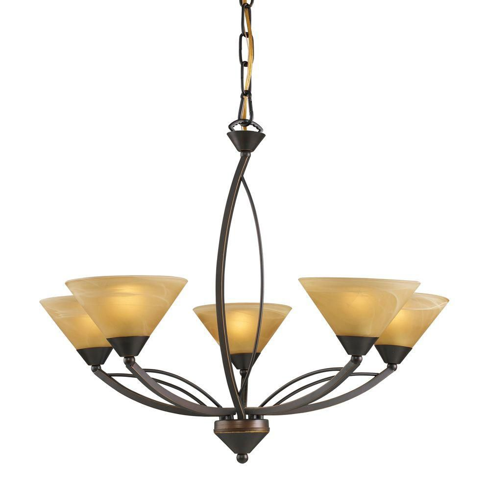 5-Light Ceiling Mount Aged Bronze Chandelier