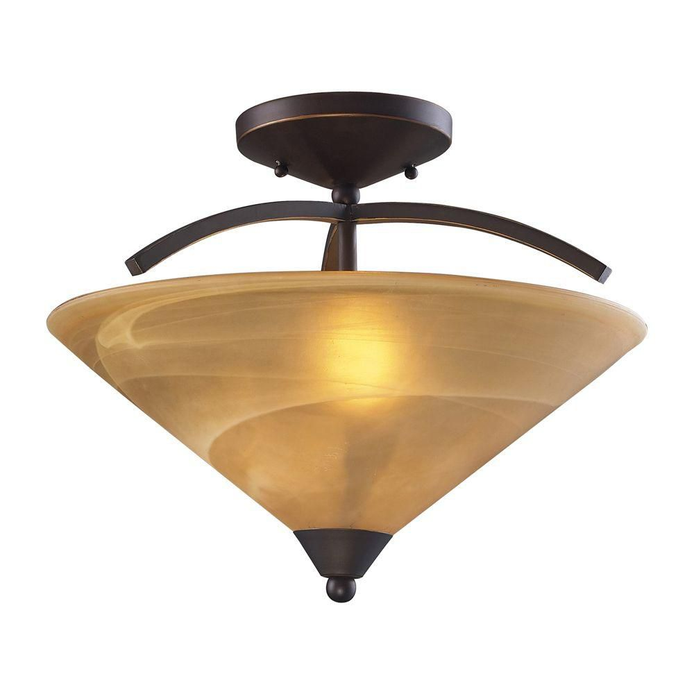 2-Light Ceiling Mount Aged Bronze Semi Flush Mount