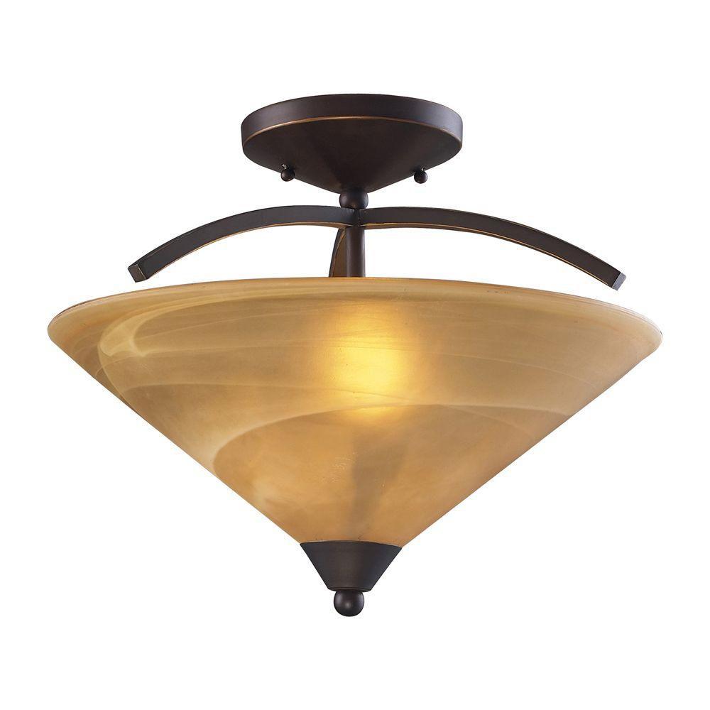 Semi-plafonnier à 2 ampoules au fini bronze vieilli