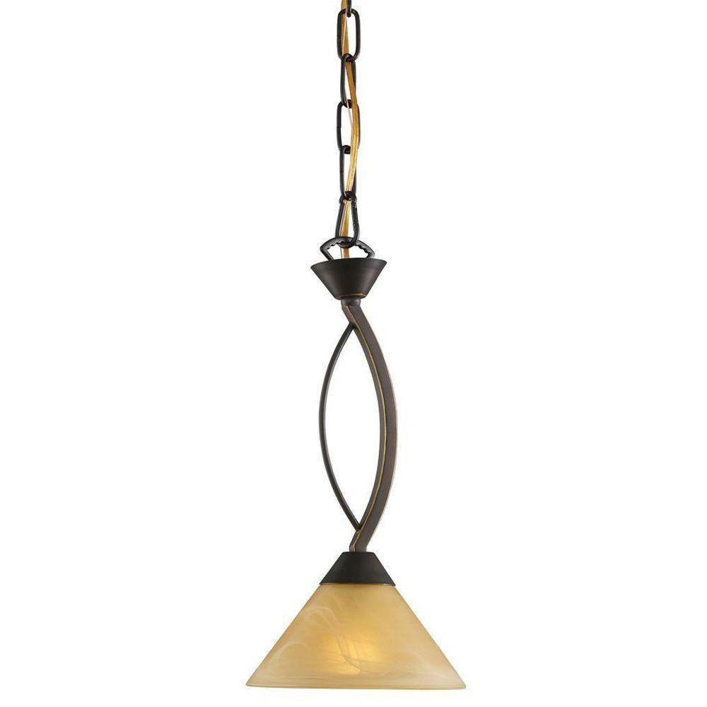 Luminaire suspendu à 1 ampoule au fini bronze vieilli