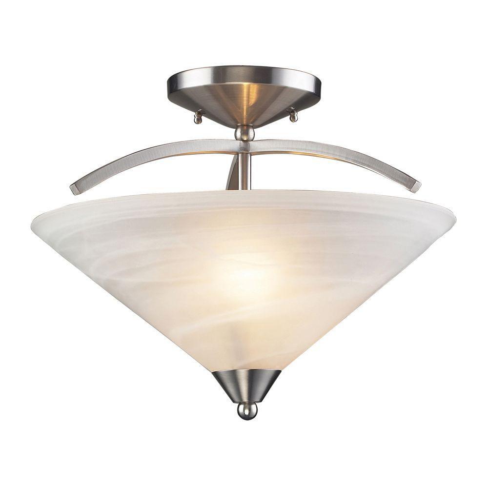 Titan Lighting 2-Light Ceiling Mount Satin Nickel Semi Flush Mount