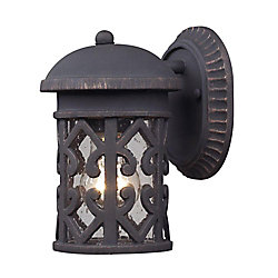 Titan Lighting 1-Light Outdoor Weathered Charcoal Wall Sconce