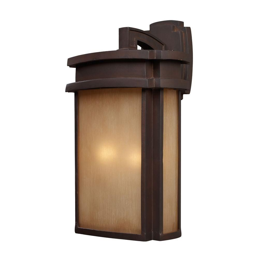 2-Light Outdoor Clay Bronze Wall Sconce