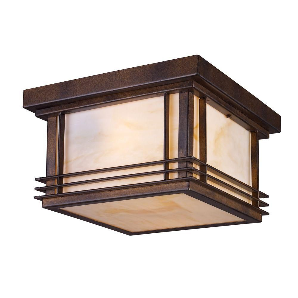 Plafonnier extérieur à 2 ampoules au fini bronze noisette