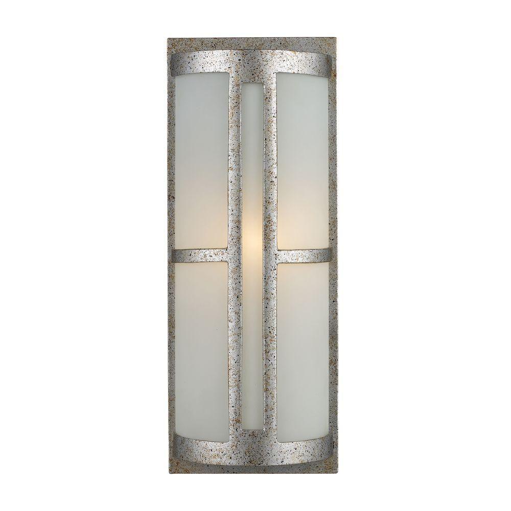 Applique murale extérieure à 1 ampoule au fini crépuscule argenté