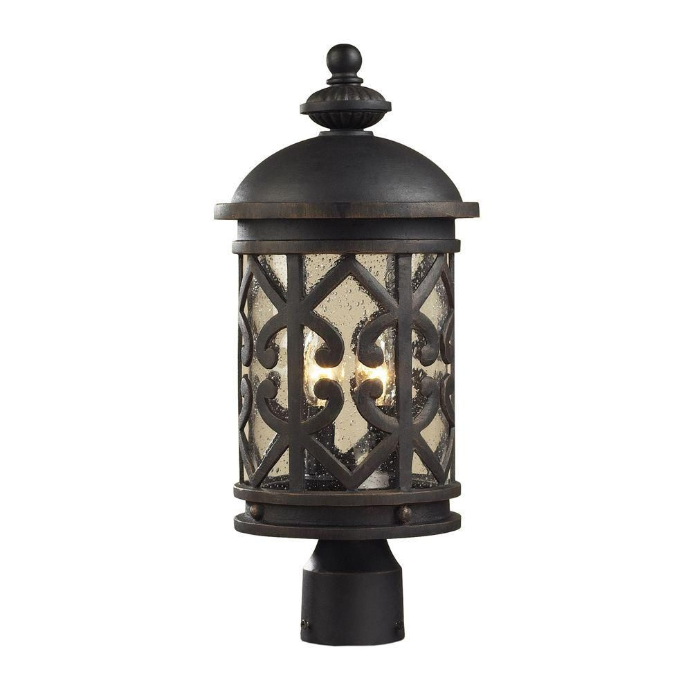 2-Light Outdoor Weathered Charcoal Post Light