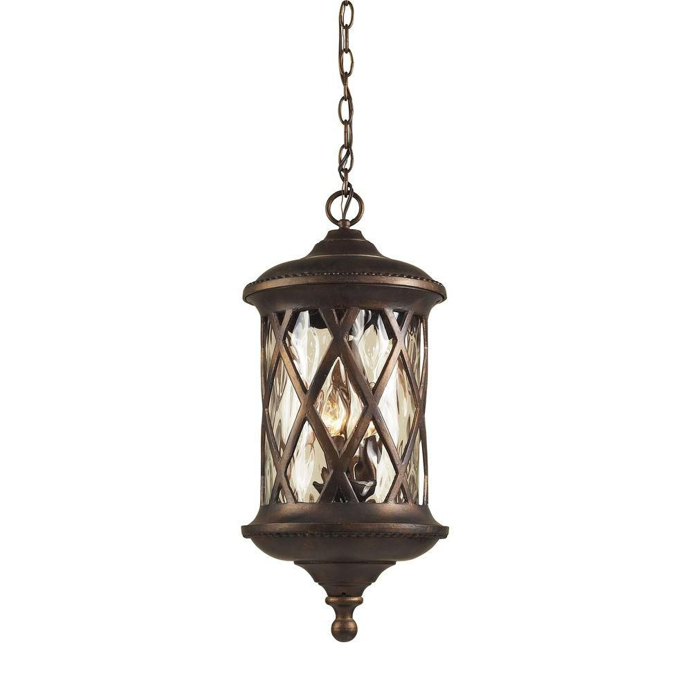3-Light Outdoor Hazelnut Bronze Pendant