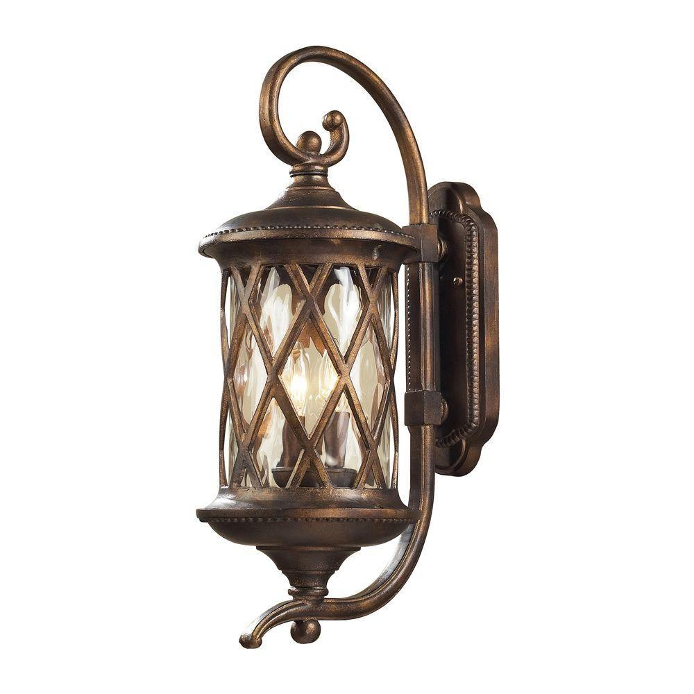 Applique murale extérieure à 2 ampoules au fini bronze noisette