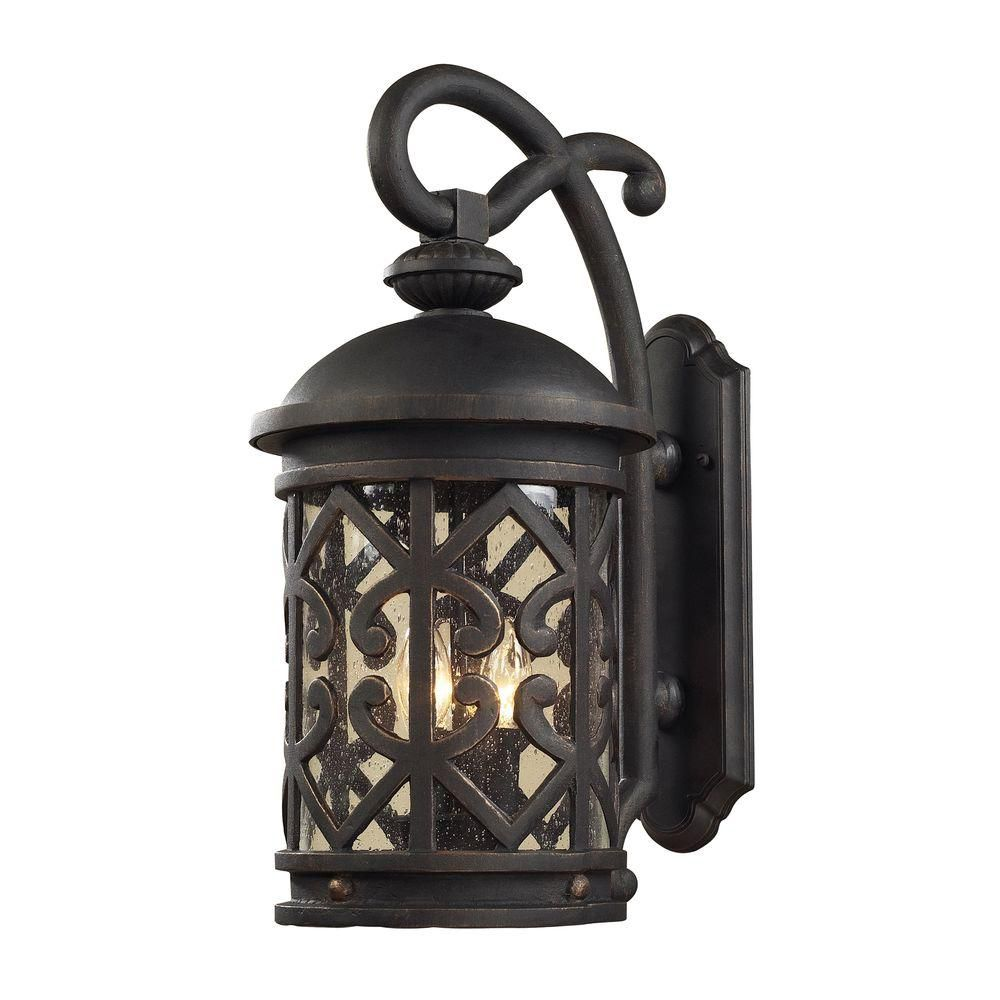 2-Light Outdoor Weathered Charcoal Wall Sconce