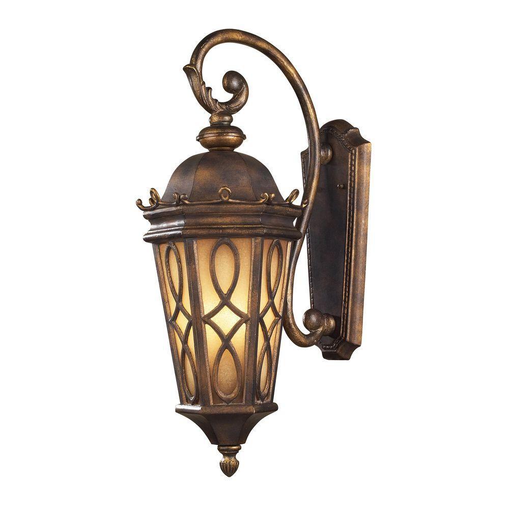 Applique murale extérieure à 3 ampoules au fini bronze noisette