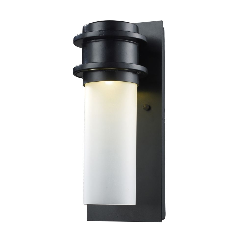Led Wall Sconce Fixtures : Titan Lighting 1-Light Outdoor Matte Black LED Wall Sconce The Home Depot Canada