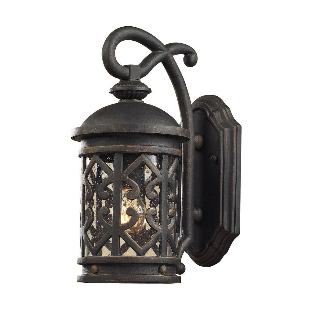 1-Light Outdoor Weathered Charcoal Wall Sconce