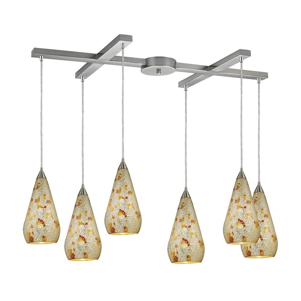 6-Light Ceiling Mount Satin Nickel Pendant