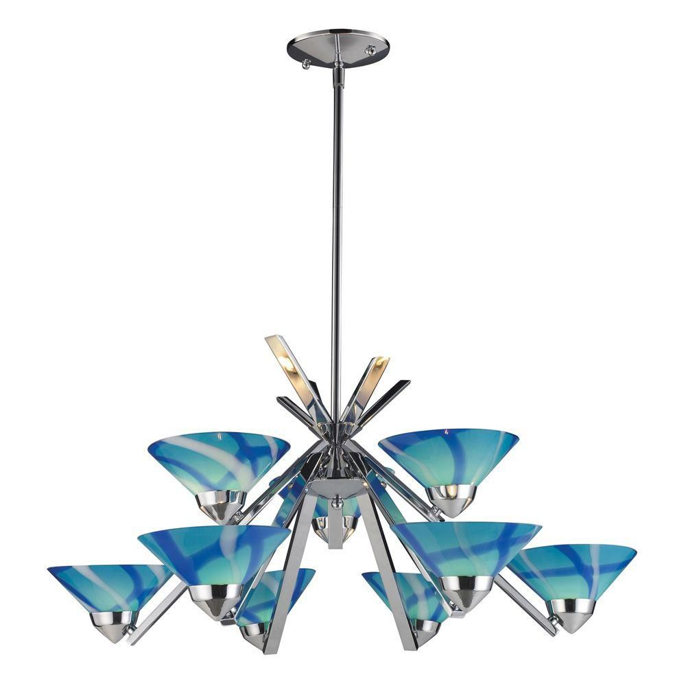 9-Light Ceiling Mount Polished Chrome Chandelier