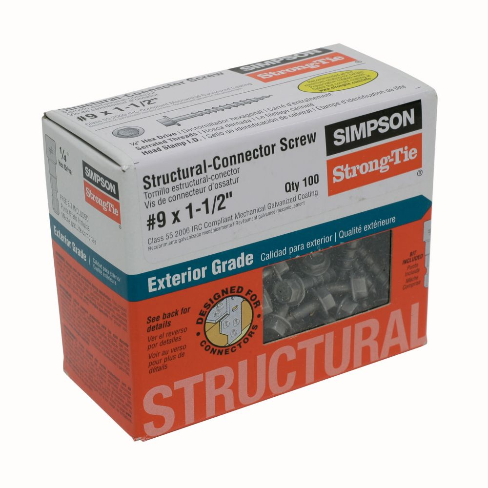 #9 1-1/2in Structural Screw 100 Count