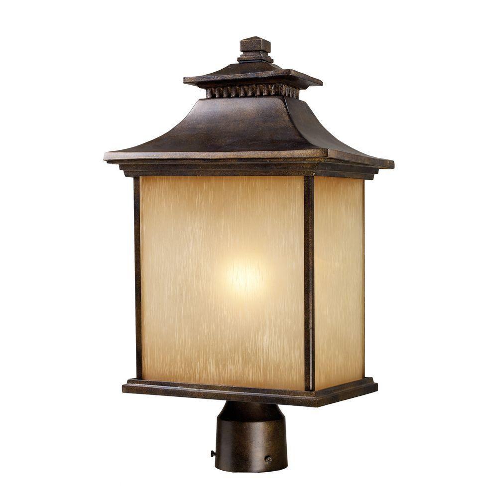 Lampadaire extérieur à 1 ampoule au fini bronze noisette
