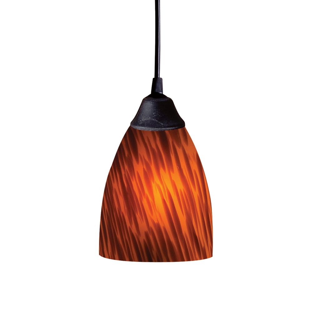 1-Light Ceiling Mount Dark Rust Pendant