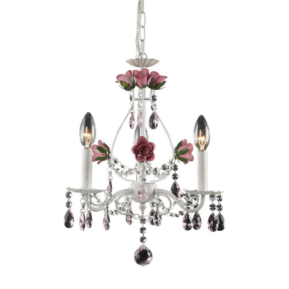 3-Light Ceiling Mount Antique White Chandelier