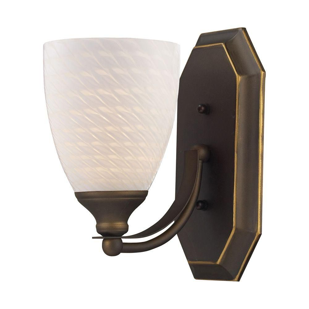 1-Light Wall Mount Aged Bronze Vanity