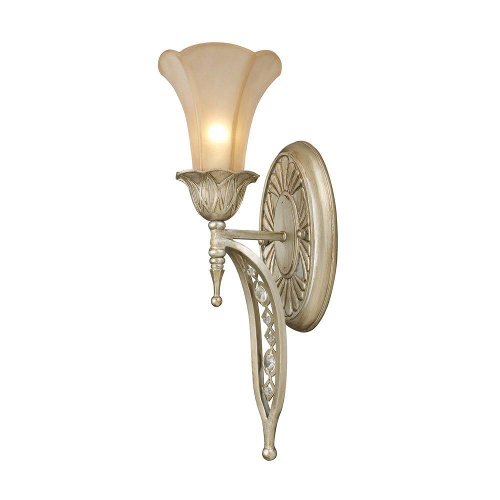1-Light Wall Mount Aged Silver Sconce