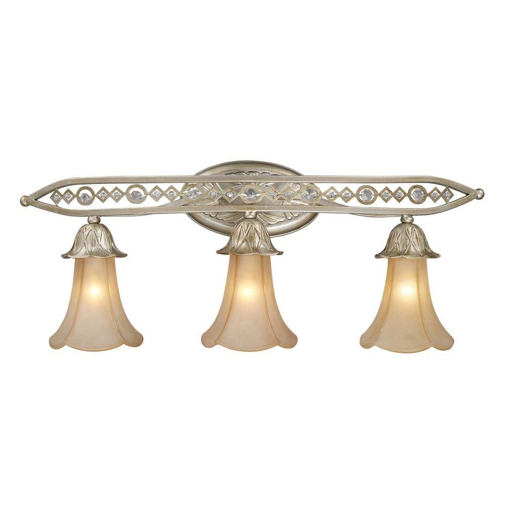3-Light Wall Mount Aged Silver Sconce