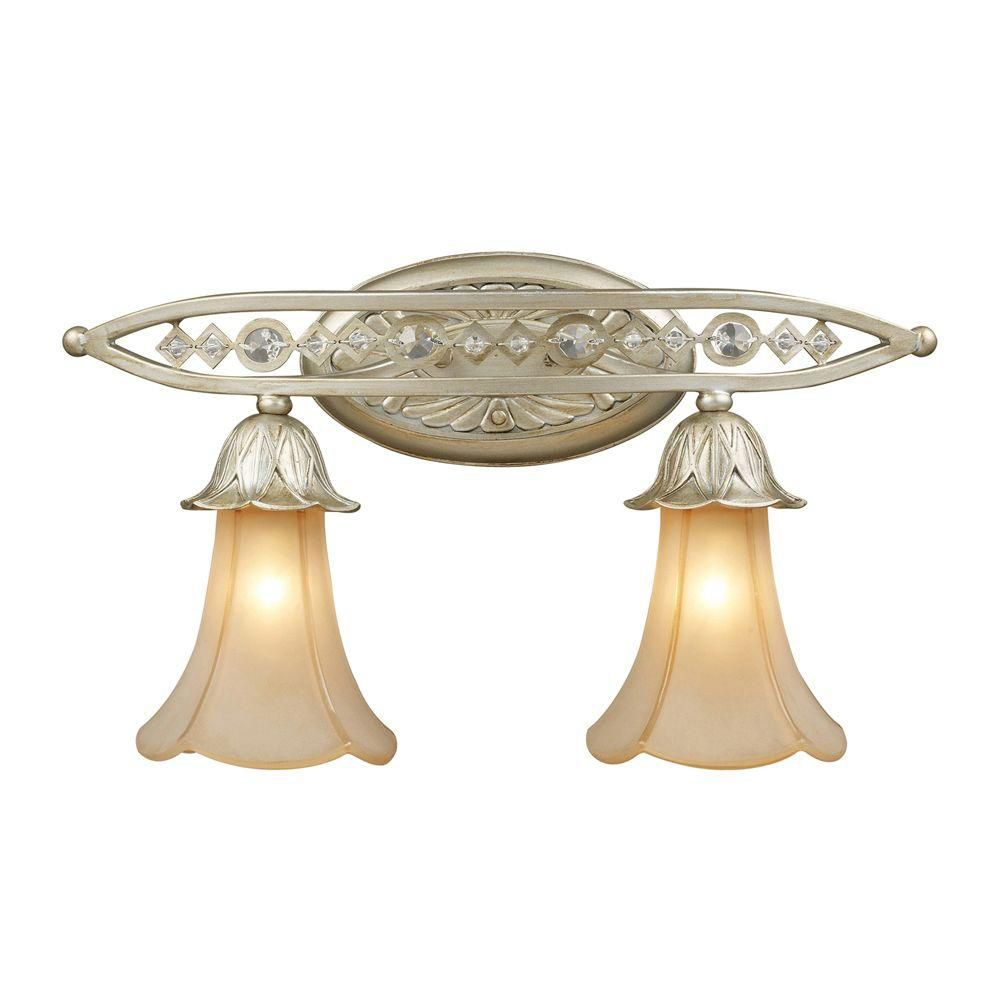 2-Light Wall Mount Aged Silver Sconce