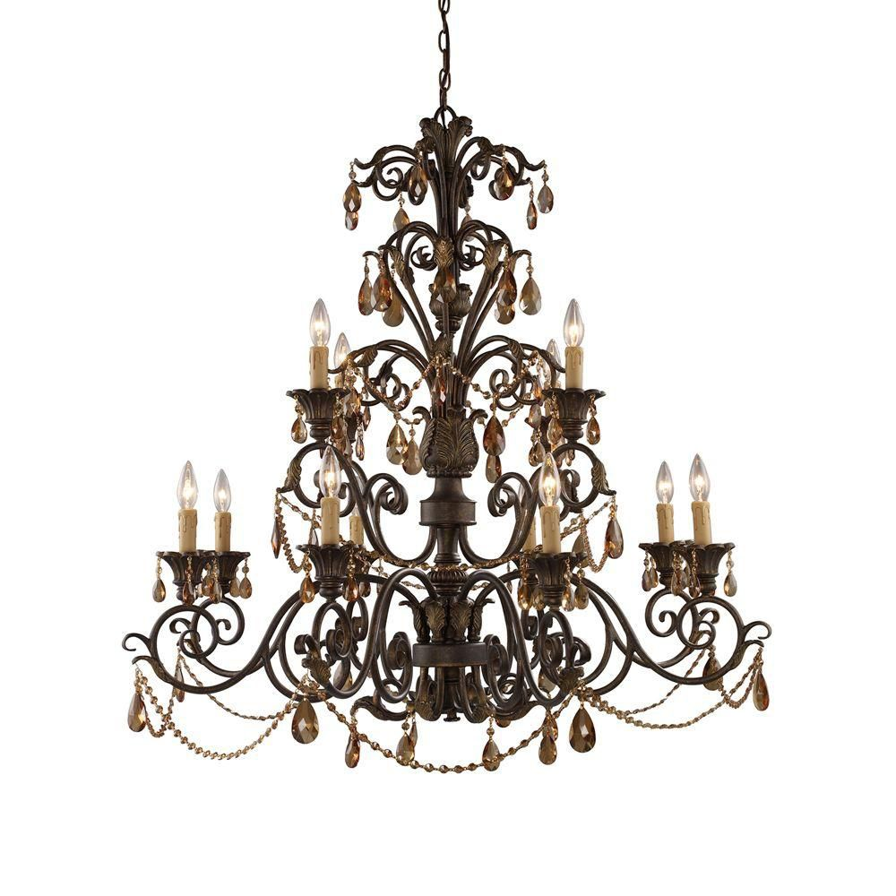 12-Light Ceiling Mount Weathered Mahogany Chandelier