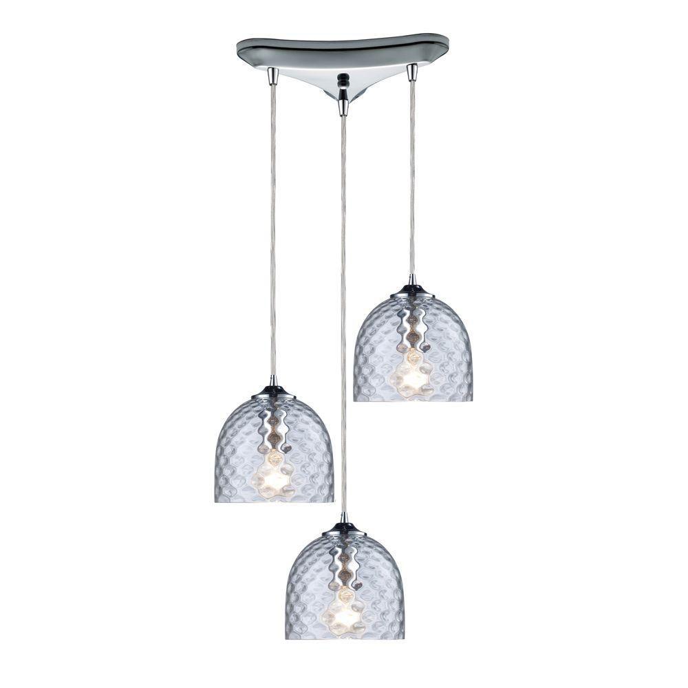 3-Light Ceiling Satin Nickel Pendant