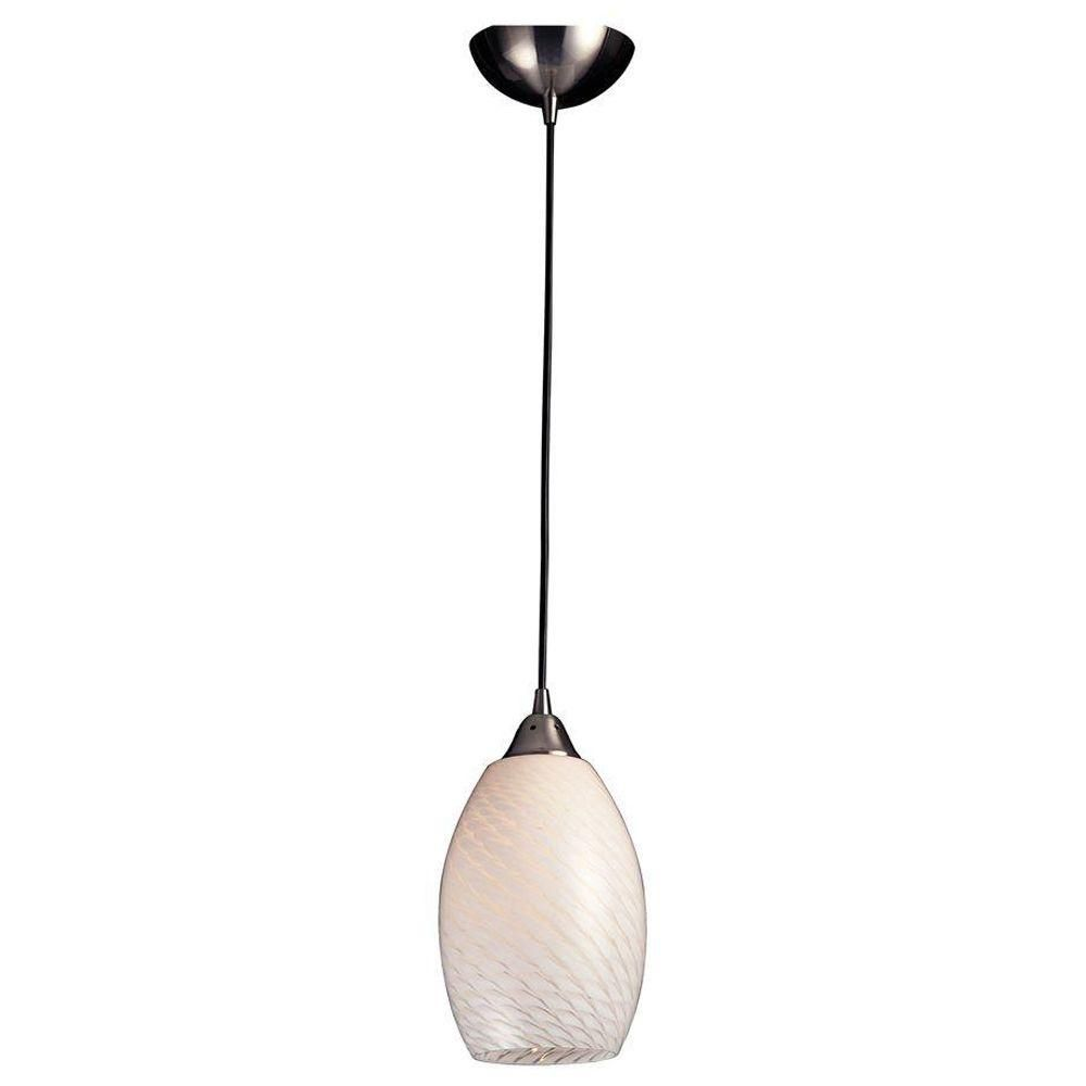 1-Light Ceiling Mount Satin Nickel Pendant