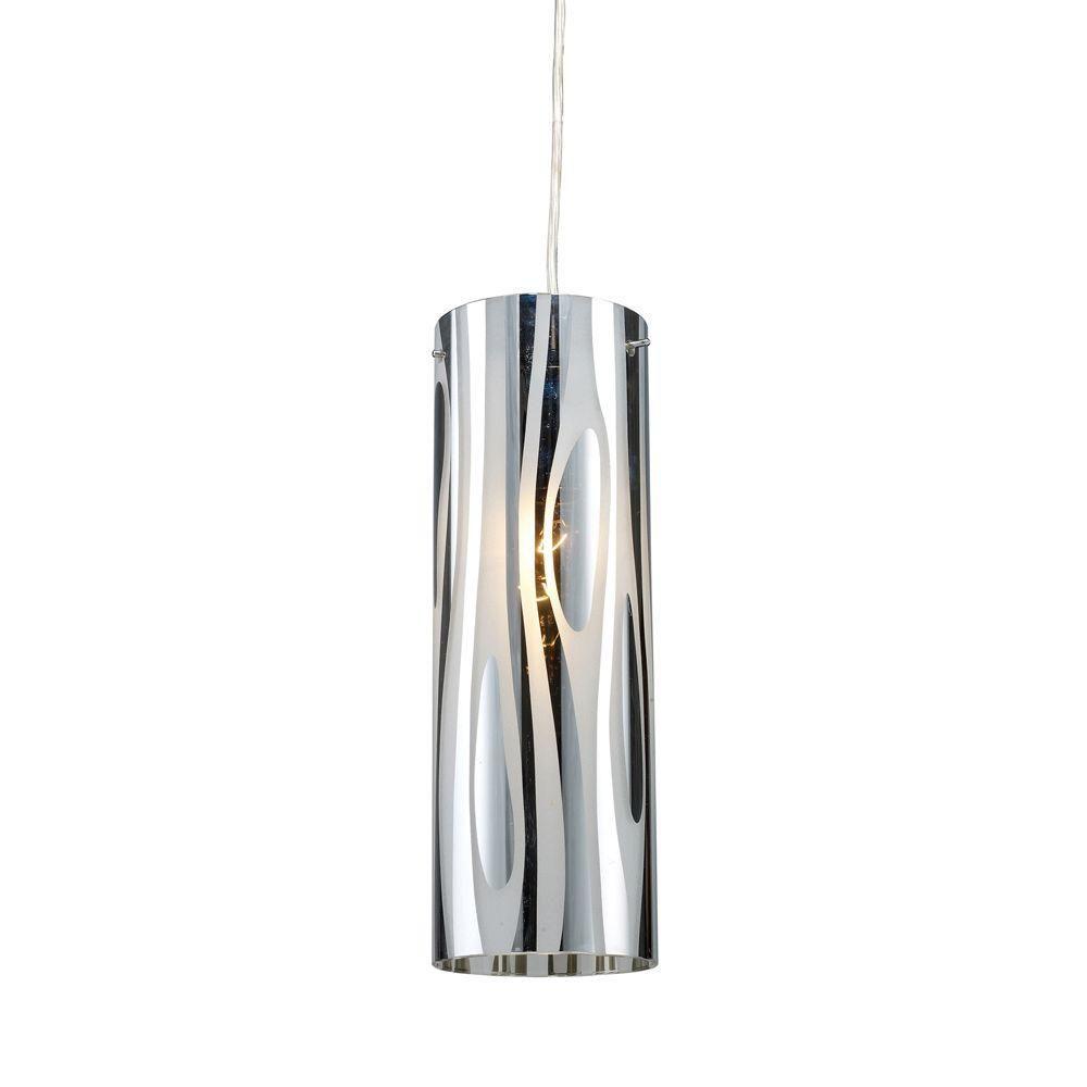 Luminaire suspendu à 1 ampoule au fini chrome poli