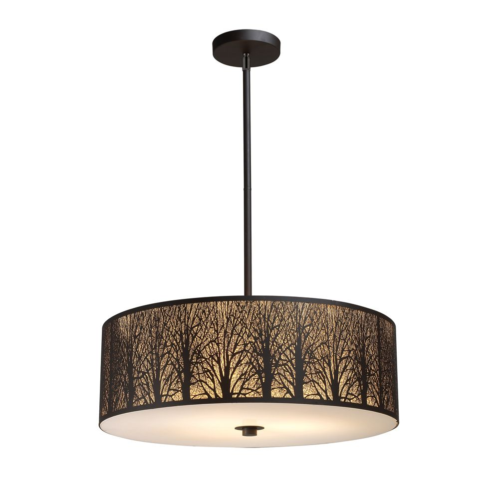 Titan Lighting 5 Light Aged Bronze Pendant The Home Depot Canada