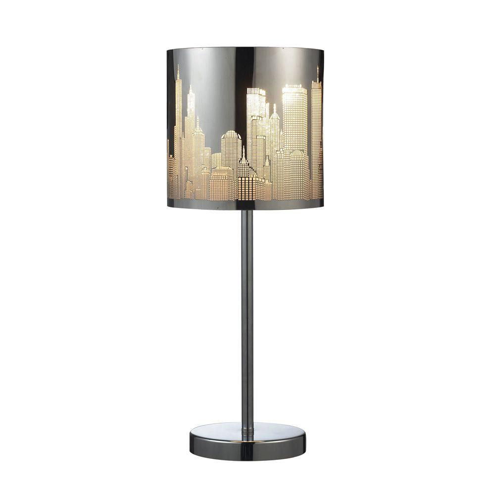 20 Inch Polished Stainless Steel Portable Lamp With Shade