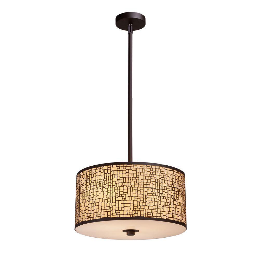 Luminaire suspendu à 3 ampoules au fini bronze vieilli