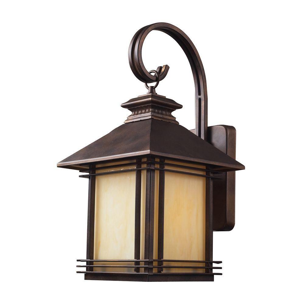 Applique murale extérieure à 1 ampoule au fini bronze noisette