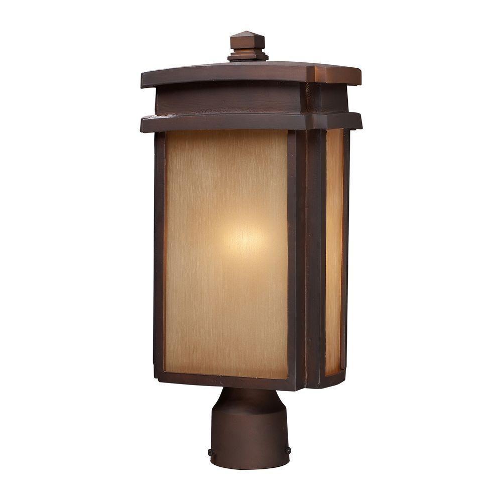 1-Light Outdoor Clay Bronze Post Light