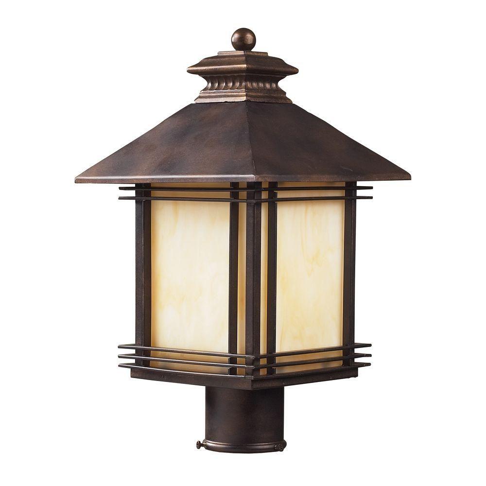 1-Light Outdoor Hazelnut Bronze Post Light