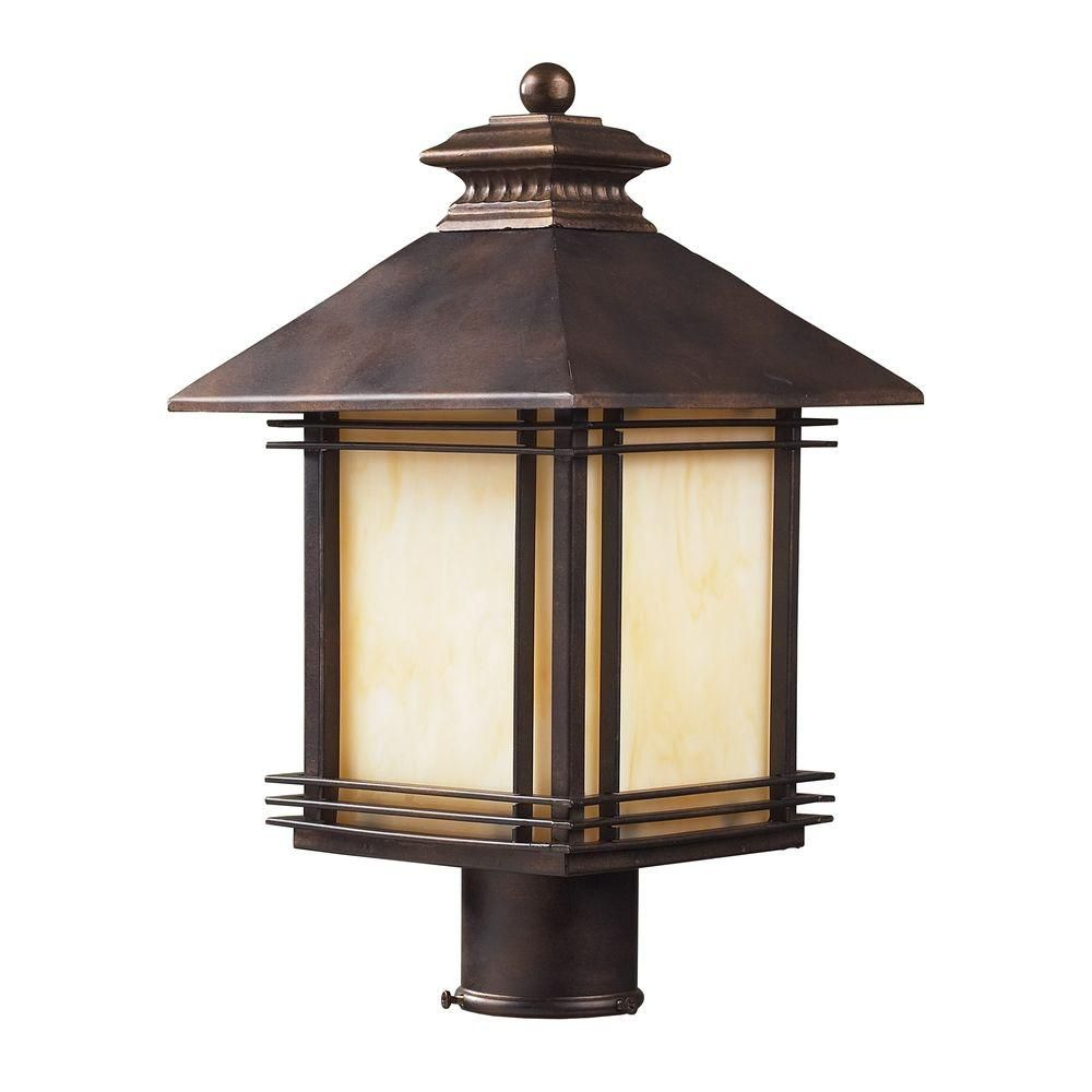 1-Light Outdoor Hazelnut Bronze Post Light