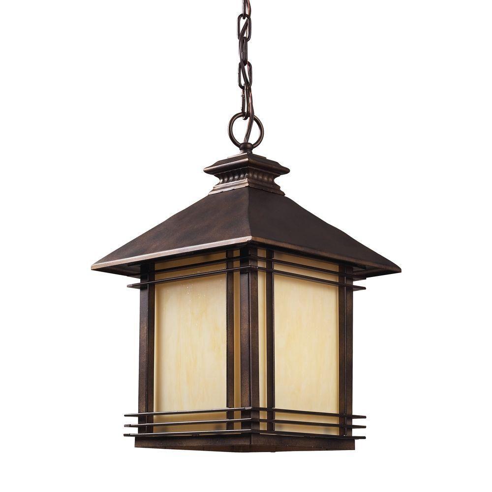 Luminaire suspendu extérieur à 1 ampoule au fini bronze noisette