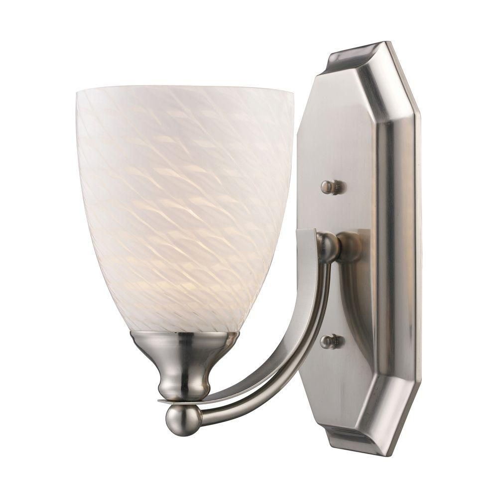 1-Light Wall Mount Satin Nickel Vanity