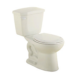 GLACIER BAY HET Premier 2-Piece 1.28 GPF Single Flush Round Bowl Toilet in Bone