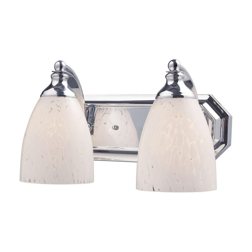2-Light Wall Mount Polished Chrome Vanity