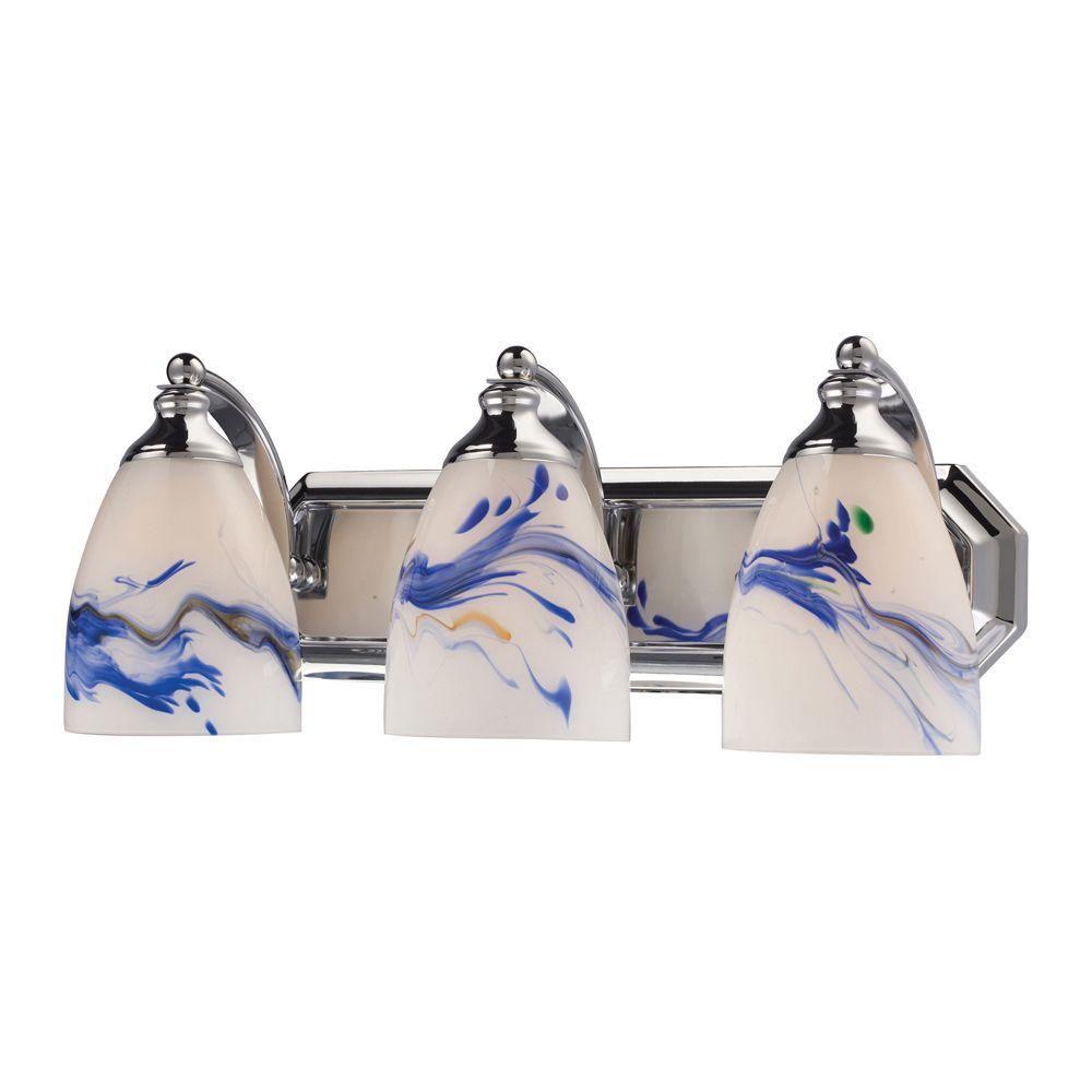 Applique murale à 3 ampoules au fini chrome poli Vanity