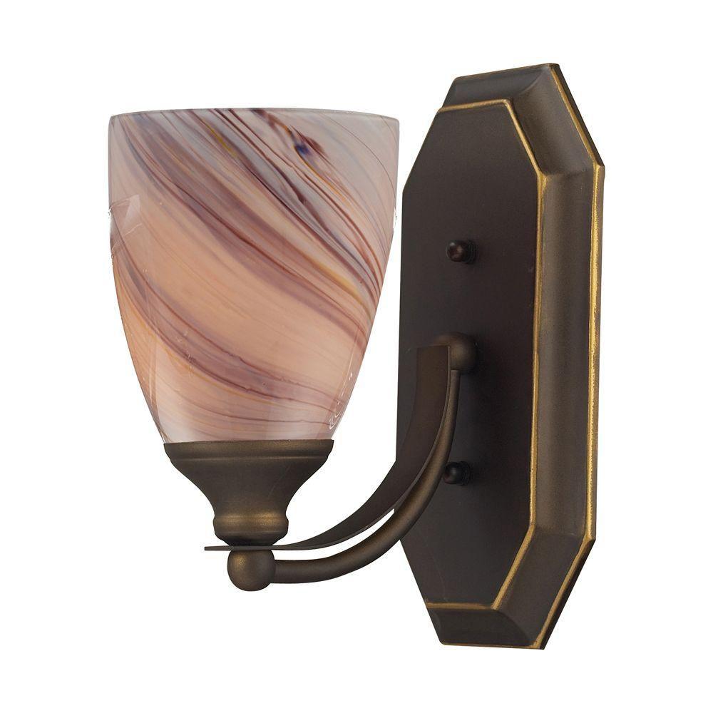 Applique murale à 1 ampoule au fini bronze vieilli Vanity
