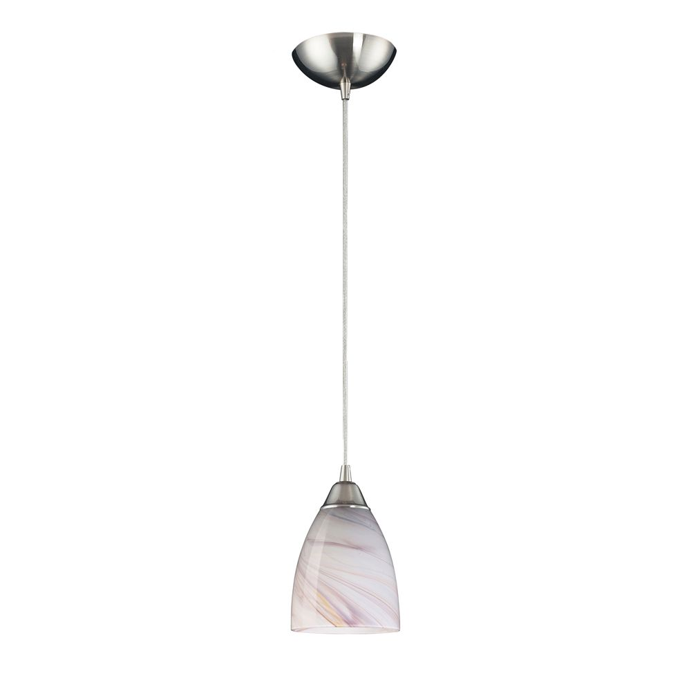 1-Light Ceiling Mount Satin Nickel Pendant