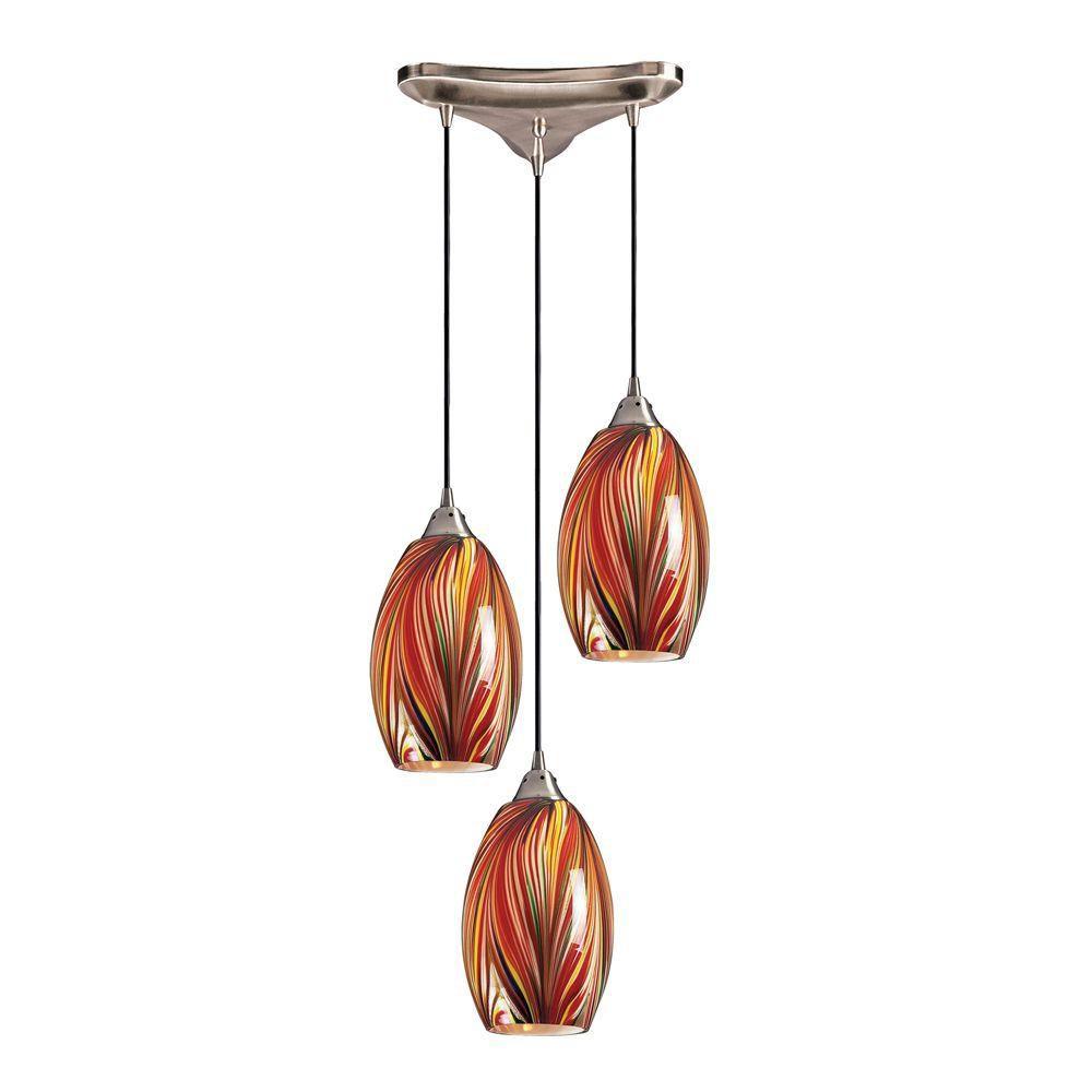 lighting 3 light ceiling mount satin nickel pendant the home depot. Black Bedroom Furniture Sets. Home Design Ideas