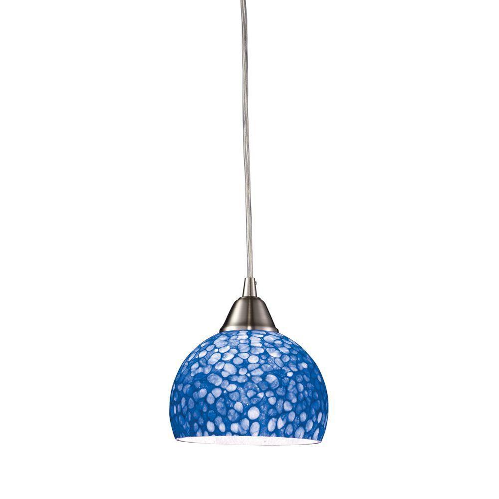 Titan Lighting Cira 1-Light Satin Nickel With Pebble Blue Glass Pendant