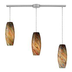 Titan Lighting Vortex 3-Light Linear Bar in Satin Nickel Pendant